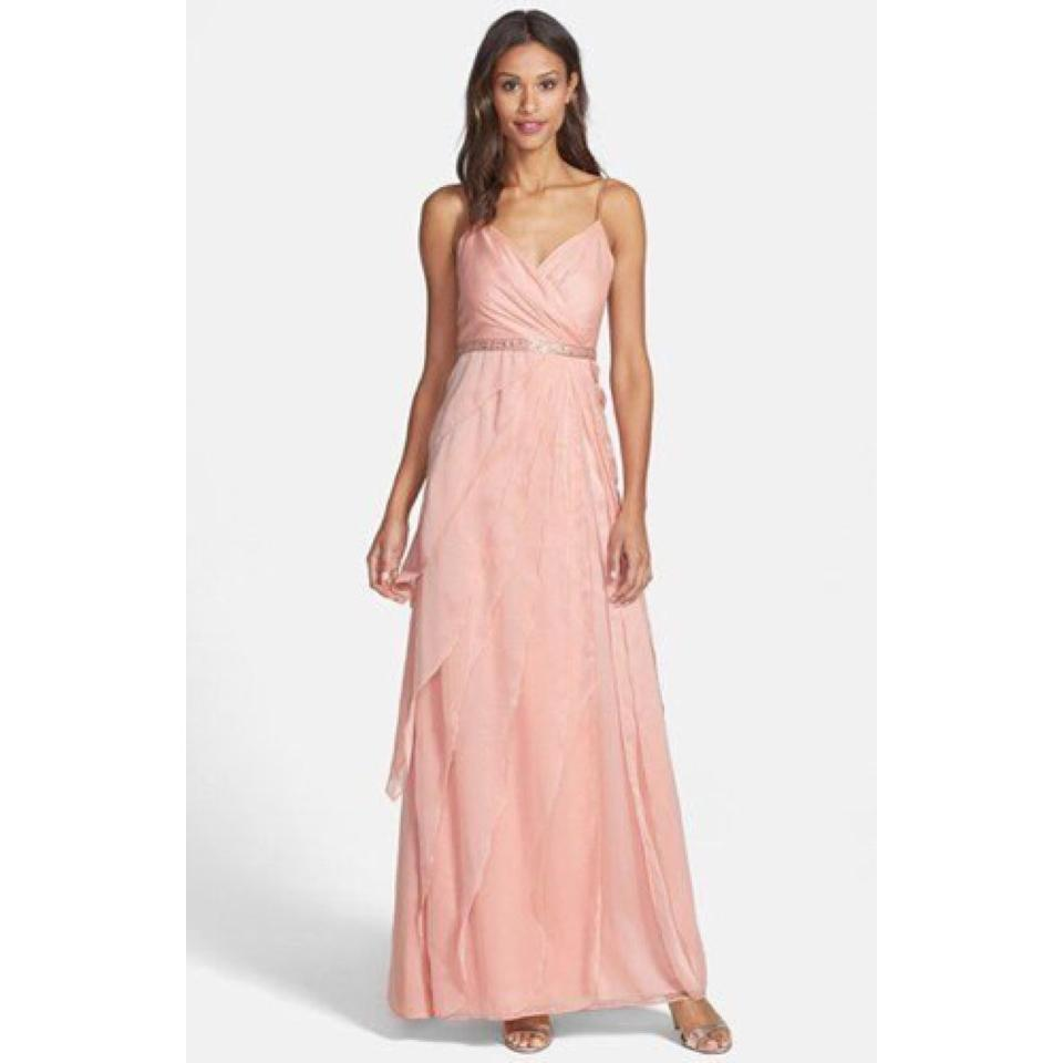 Adrianna Papell Blush Tiered Chiffon Gown Long Formal Dress Size 4 ...