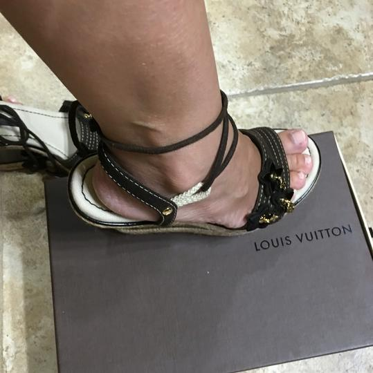 Louis Vuitton Flower Patent Leather Suede Brown Wedges