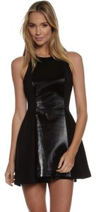 C/meo Collective Mixed Media Skater Fit And Flare Leather Dress