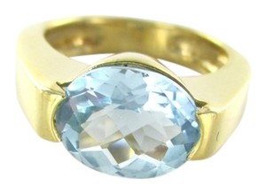 18K YELLOW GOLD RING BLUE TOPAZ SIZE 6.5 ENGAGEMENT WEDDING BAND 6.5 GRAMS JEWEL