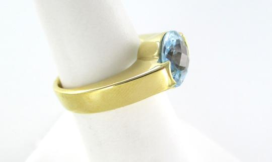Other 18K YELLOW GOLD RING BLUE TOPAZ SIZE 6.5 ENGAGEMENT WEDDING BAND 6.5 GRAMS JEWEL