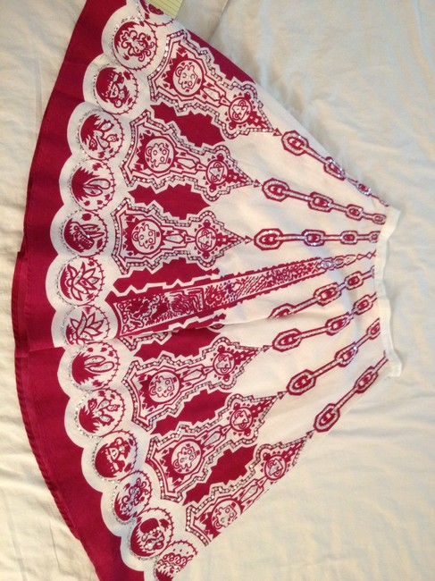 Funky People Skirt Ivory & Red, Silver Sequins