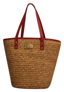 Laura Geller New Handbag Makeup Lined Tropical Vacation Bahamas Florida Beach Beach Travel Premium Trim Tote in Straw and Red