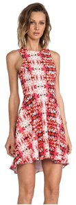 Naven Racer-back Floral Printed Abstract Pink Dress