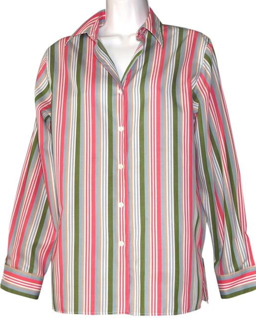 Foxcroft Size 6 Striped Green Salmon Wrinkle Free Button Down Shirt MULTI-COLOR