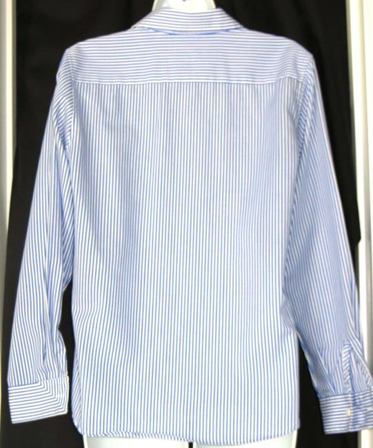 Foxcroft Pinstriped Wrinkle Free Button Down Shirt BLUE & WHITE