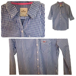 Hollister Button Down Shirt Blue/white