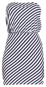 Susana Monaco short dress Navy and White Summer Nautical Strapless on Tradesy