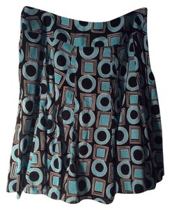 dressbarn Print Flared Skirt Teal blue and black