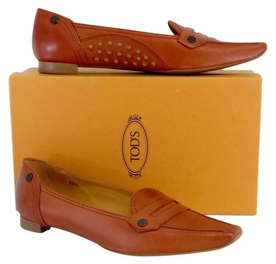 Tod's Orange Leather Loafers Flats