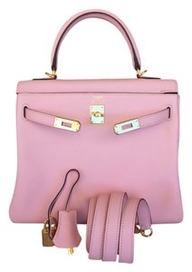 Hermès New100 Hermes Kelly Black Tote in Pink Rose Sakura
