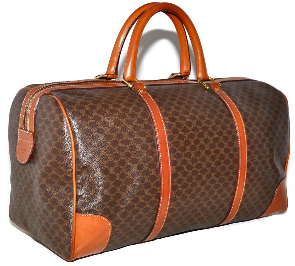 Céline Macadam Paris Carry On Overnight Duffle Made In Italy Brown Leather    Coated Canvas Weekend Travel Bag c897605ea550a