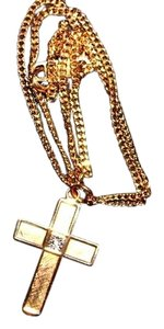 Man's Diamond Cross Pendant, Yellow Gold Filled Metal