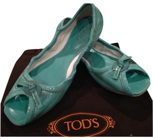 Tod's Patent Leather Distressed Slide Elastic Tassel Rubber Sea Foam Green Flats