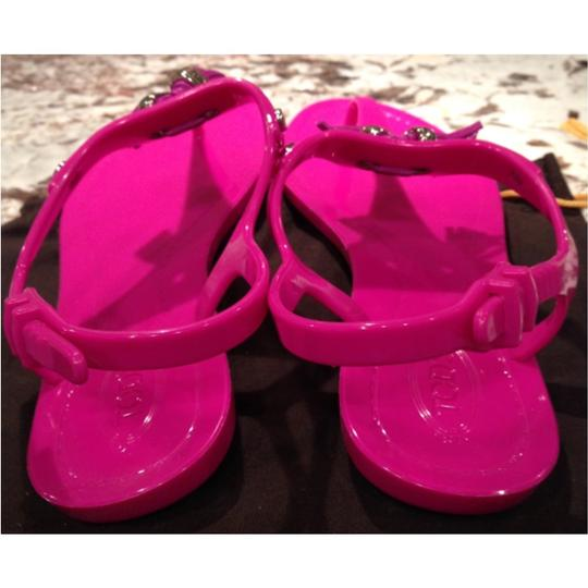 Tod's Purple Thong Jellies Tassels Ankle Strap Fuscia Sandals