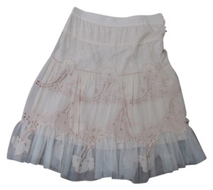 Wedding Vintage Engagement Tule Lace Flowers Skirt Off white