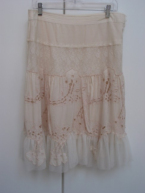 Wedding Vintage Engagement Tule Lace Flowers Tulle Skirt Off white