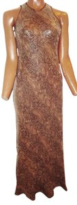 Chetta B. by Sherrie Bloom and Peter Noviello Snake Silk Sequin Long Dress