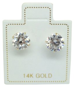 14K Yellow gold 6mm CZ stud earrings