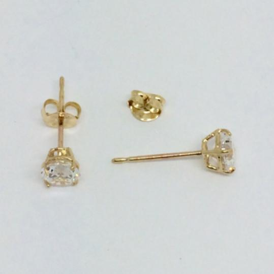 Other 14K Yellow gold 6mm CZ stud earrings
