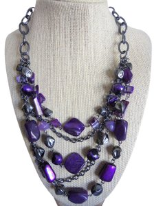 A.N.A. a new approach ANA GUNMETAL AND PURPLE STONE NECKLACE