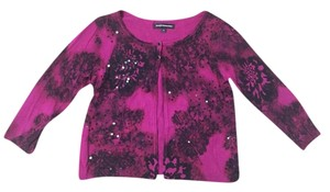 Express Crop Cropped Beaded Embellished Magenta Cardigan