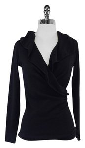 Ralph Lauren Black V-neck Draped Sweater