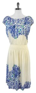 Tory Burch Cream Blue Floral Print Dress