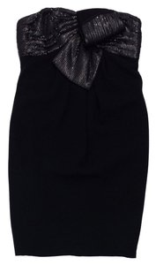 Carmen Marc Valvo short dress Black Silk Strapless on Tradesy