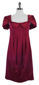 Nicole Miller Wine Red Satin Cap Sleeve Dress