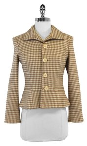 Ralph Lauren Tan Cream Houndstooth Wool Jacket