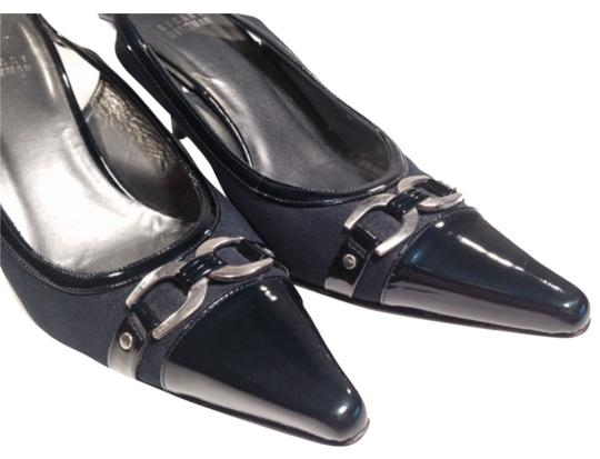 Preload https://item1.tradesy.com/images/stuart-weitzman-blue-dark-navy-slingback-in-fabric-and-patent-leather-silver-buckles-pumps-size-us-8-10595965-0-1.jpg?width=440&height=440