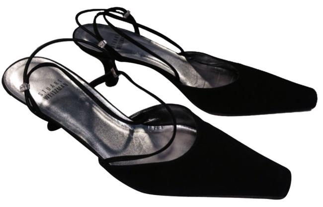 Item - Black Fabric Kitten Heel Strappy Slingback with Rhinestone Accents Formal Shoes Size US 7.5 Regular (M, B)