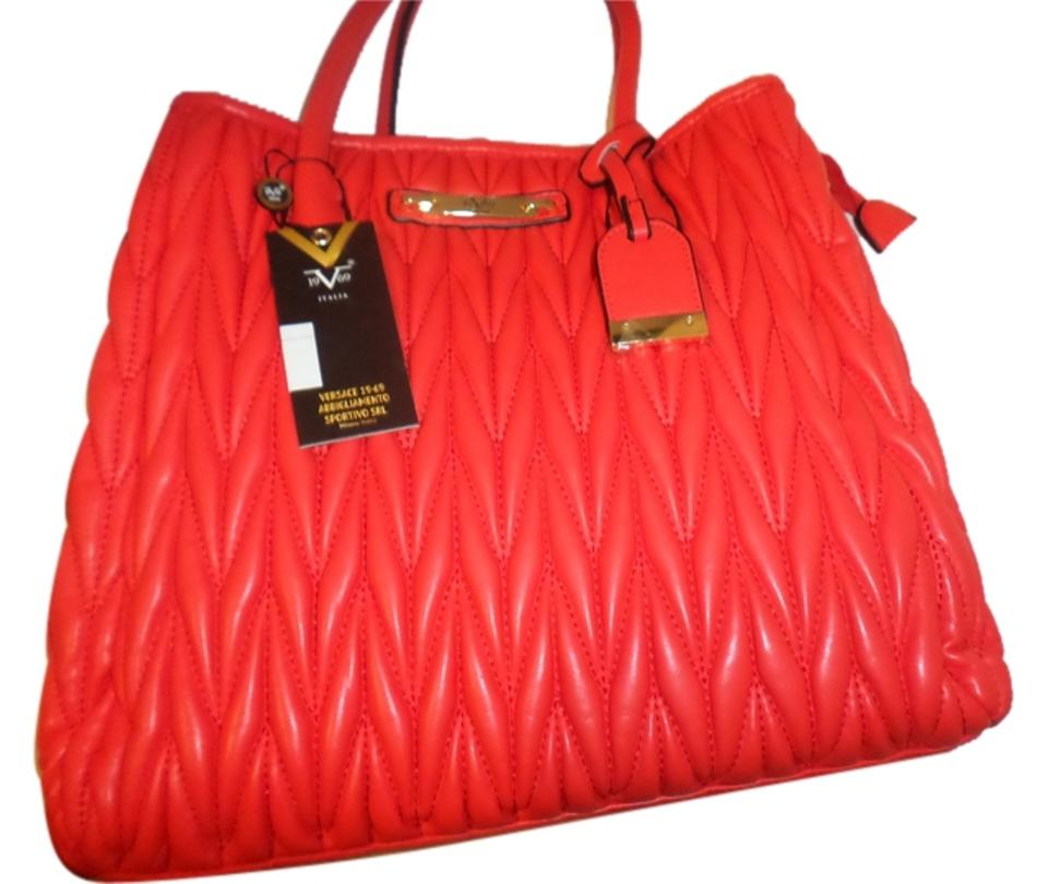 4dbc445136 Versace 19.69 New Italia Sofia Purse Handbag Coral Red Faux Leather ...