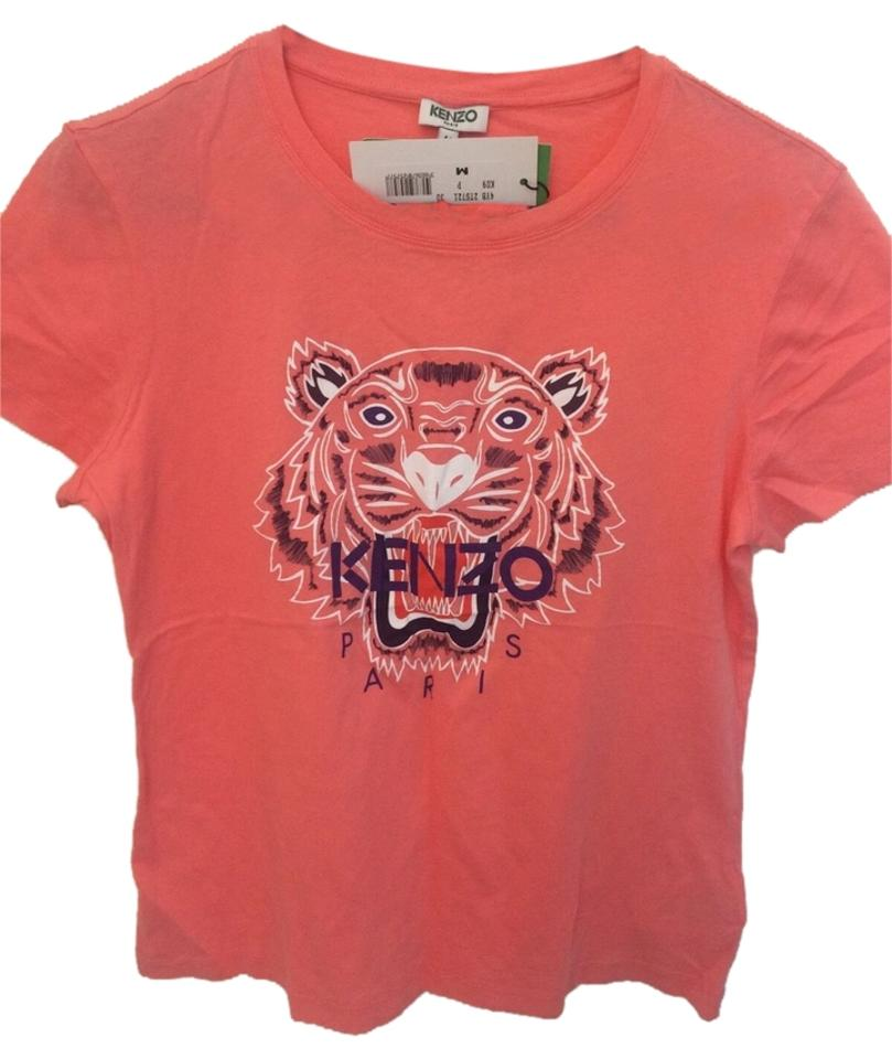 b2e36641 Kenzo Peach Pink Paris Designer Tiger Head Logo Graphic T-shirt ...