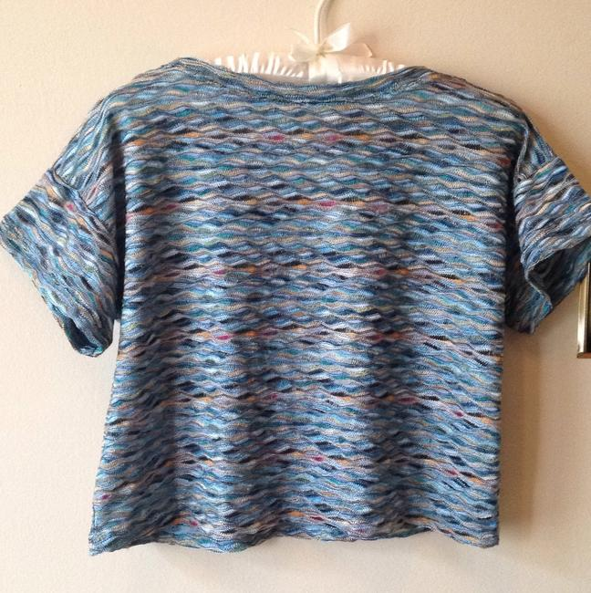 Free People Multicolored Striped Rainbow Crop T Shirt Blue/multi