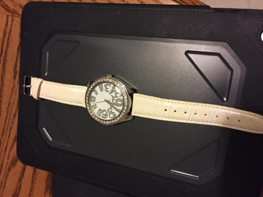 Other Watch white band silver dial stainless steel back; leather band