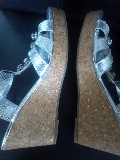 Faded Glory Silver Wedges