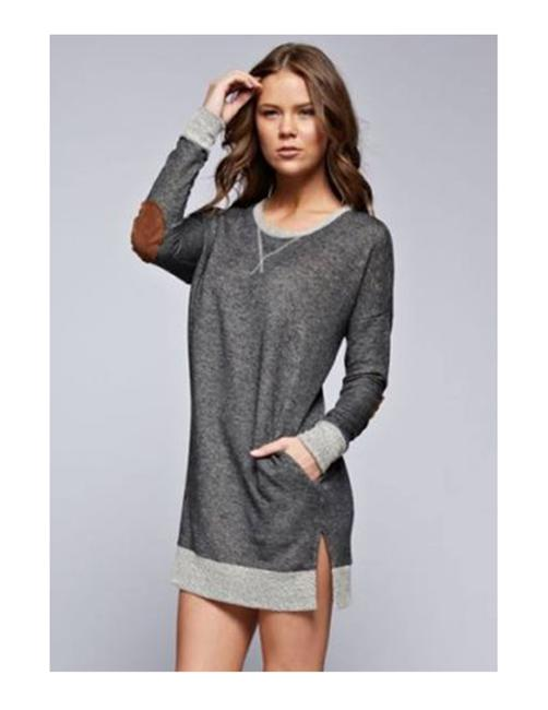 French Terry short dress Light Grey Tunic Suede Elbow Patch on Tradesy