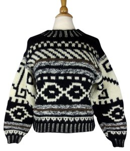 Esprit Wool Knit Fair Isle Ornament Pattern Boxy Cropped Sweater