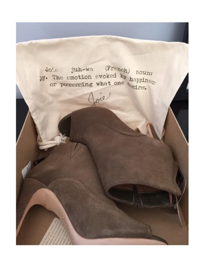 Joie Open Toe Suede Brown Boots