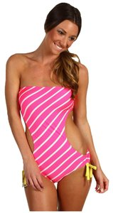 Juicy Couture Juicy Couture Women's Bandeau Monokini Fuchsia Intersection Swimsuit Small