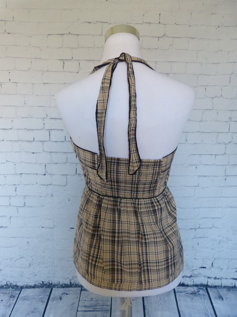 Edme & Esyllte Anthropologie Halter Plaid Classic Top Brown
