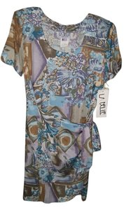 La Belle short dress Blue, Purple and Brown print Free Shipping on Tradesy