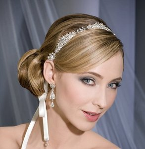 Stunning Crystal Bridal Headband With Ribbons