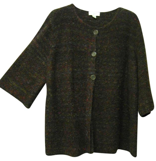 Item - Plus Size 3/4 Sleeve and Buttons Up 1/2 Way Multi Color Sweater