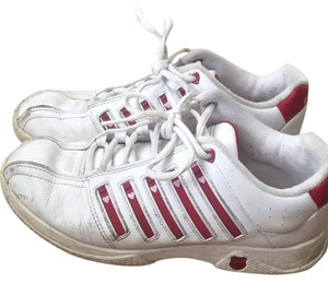 K-Swiss White with red/pink stripes Athletic