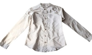 Prada Button Down Shirt Beige pinstrip