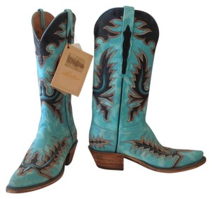 Lucchese Distressed Emerald Blue Boots