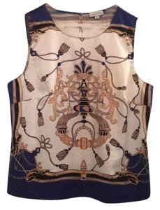 Tahari Top Gold Navy Multi